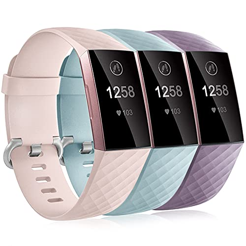 Dirrelo 3 Pack Compatible con Fitbit Charge 3/Fitbit Charge 4/Charge 3 SE Correa para Mujeres Hombres, Pulsera Deportiva de Repuesto Ajustable de Silicona Suave para, BLU Menta+Rosa+Viola S