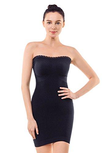 +MD Shapewear Damen Trägerloses Kleid Figurformendes Miederkleid Shaping Unterkleid Trägerlos Bodyformer Unterrock SchwarzL