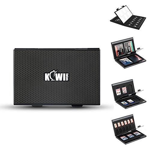 KIWIFOTOS Funda de metal para tarjeta de memoria SD SDHC SDXC MicroSD TF CF NS Nintendo Switch Juego Tarjetas con 4 insertos intercambiables de espuma EVA suave