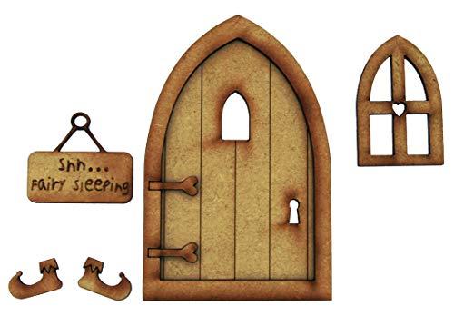 """Basteltür """"Fairy Sleeping"""" 3D-Deko zur Selbstmontage; Feentür-Bastelset aus Holz mit Blume und Pilz, Schild und Feen-Pantoffeln"""