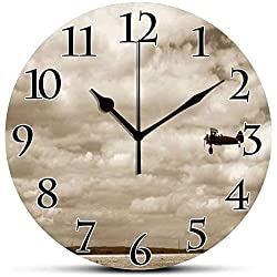 Silent Wall Clock,Vintage Airplane Decor,Fighter Plane in Dramatic Cloudy Sky Aviation Flyby Military Obsolete,Sepia Non Ticking Wall Clock/Desk Clock for Office Home Decor 10 inch