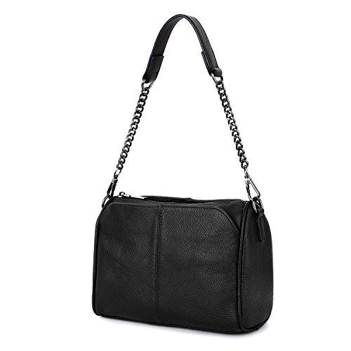 YALUXE Women's Shoulder Bag Cowhide Leather Purse Tote Handbag for Womens black