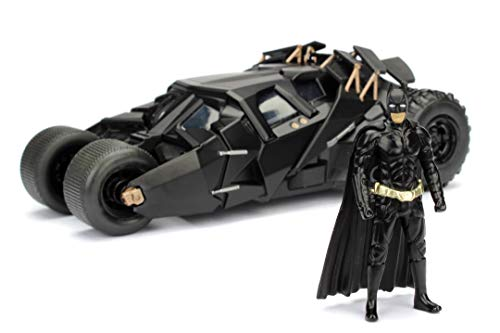 Jada Toys 253215005 The Dark Knight Batmobil, hochdetailiertes 1:24 Modellauto inkl. Batman Figur, Cockpit und Türen können geöffnet werden, mit Freilauf, schwarz