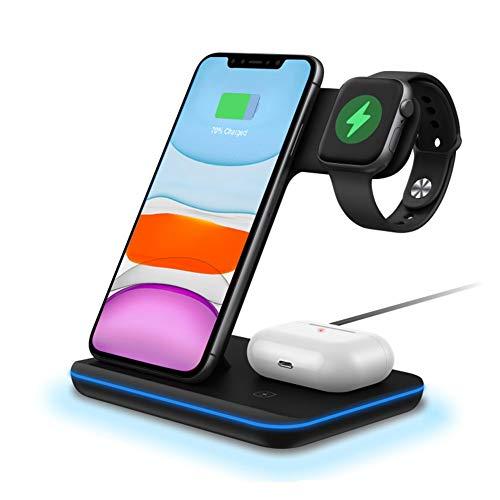 Estación de carga inalámbrica, soporte de cargador inalámbrico 3 en 1 con indicador de respiración compatible con iPhone 11 Pro / XS / XR / 8, Samsung, Reloj 6 / SE / 5/4/3 & Airpods ( Color : Negro )