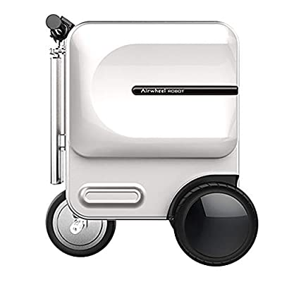 BGROEST Lightweight Luggage Travel Railings Folding Electric Suitcase Scooter Retractable Trolley Portable Smart Scooter Suitcase 29.3L (Color : White, Size : 48.9×36.5×58CM)
