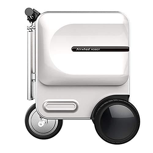 Hartschalen-Koffer Rollkoffer Reisekoffer Folding Elektro Koffer Roller Retractable Trolley Tragbare intelligente Roller Koffer 29.3L Stilvoller Reisekoffer ( Farbe : Weiß , Größe : 48.9×36.5×58CM )