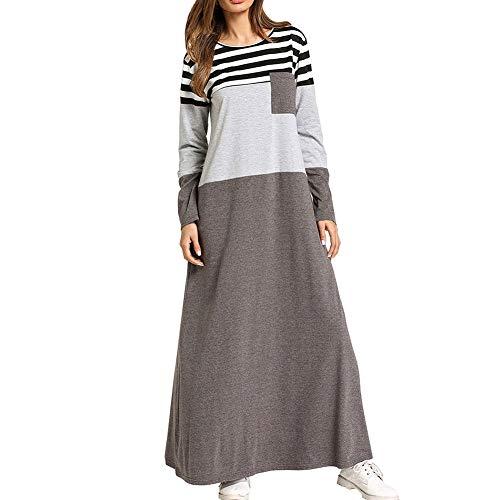QINJLI damesjurk, gestreepte naden voor zwangere grote jurken van mulimische roben lange rok 4XL
