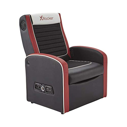 X-Rocker Shift Sport JR 2.1 Gaming Chair for Kids, Multi-Media Ottoman Armchair with Stereo Audio, Subwoofer and Storage, Junior Folding Seat, Faux Leather - Black/Red