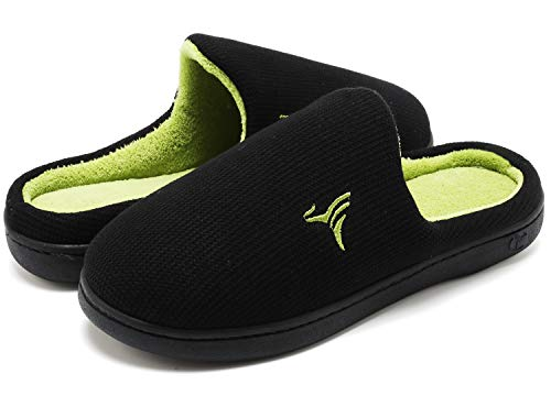 VIFUUR Hombre Zapatillas de casa Espuma de Memoria de Alta Densidad Cálido Interior Lana al Aire Libre Forro de Felpa Suela Antideslizante Zapatos Verde/Negro 40/41