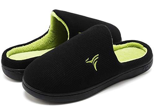 VIFUUR Hombre Zapatillas de casa Espuma de Memoria de Alta Densidad Cálido Interior Lana al Aire Libre Forro de Felpa Suela Antideslizante Zapatos Verde/Negro 44/45