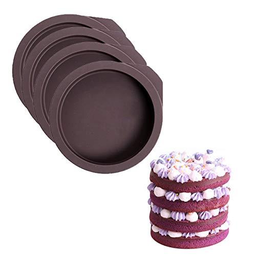 4Stück 4inch Regenbogenkuchen Silikonschale Form für Hochzeit Silikonform Fondant Gießform Silikon für Kuchen Backen Schokoladen Seife Gelee Muffin