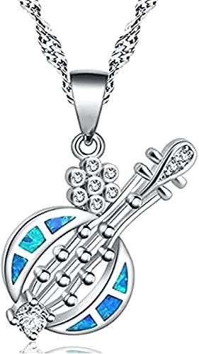 Aluyouqi Co.,ltd Collar Collar con Colgante De Forma De Guitarra Creativa De Ópalo Multicolor para Mujer, Joyería De Regalo De Cumpleaños para Niña De Fiesta De Moda Exquisita