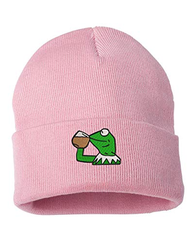 Kermit Not My Business Logo Embroidered Cuffed Knit Winter Unisex Beanie Pink
