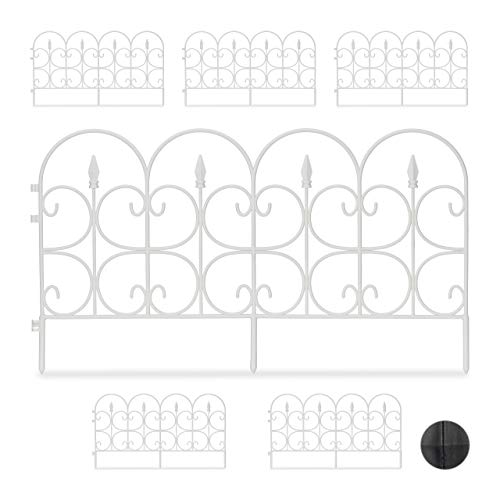 Relaxdays, White Weatherproof Plastic Flowerbed Fence, 30 cm Tall, Ornate Lawn Enclosure with Spikes, 6-Pc Set, 4m