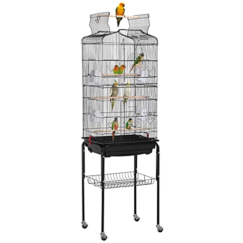 Yaheetech 64-inch Play Open Top Medium Small Parrot Parakeet Bird Cage for Lovebirds Finches Canaries Parakeets Cockatiels Budgie Parrotlet Conures Bird Cage with Detachable Rolling Stand
