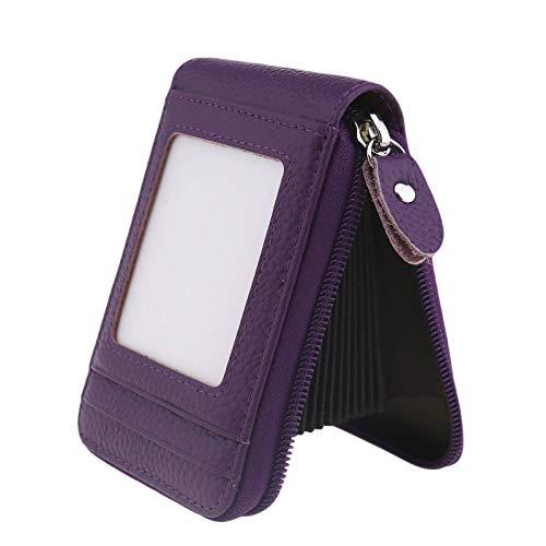 ENET Cartera de piel suave para tarjetas de crédito, con bolsillo para tarjetas de visita, color morado