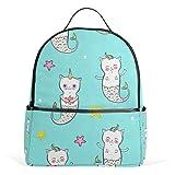 Mochila azul con diseño de gato y unicornio, para mujeres, adolescentes, niñas, bolso de moda, para viajes, universidad, informal, para niños y niñas
