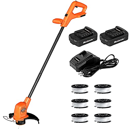 MAXLANDER String Trimmer/Edger, 20V 10-Inch Cordless Weed Eater with 2Pcs 2.0Ah Batteries, 1Pcs Quick Charger and 6Pcs Replacement Spool Trimmer Lines, Lightweight Weed Wacker