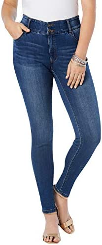 Roamans Women s Plus Size The Skinny Leg Curvy Jean Made in USA Stretch Denim 18 W Medium Wash product image