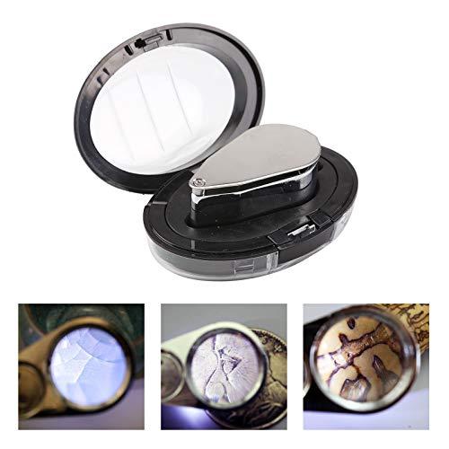 BALLSHOP Juwelier Lupe 40 Fach Schmuck Vergrößerungslupe mit LED Licht für 40 x 25mm