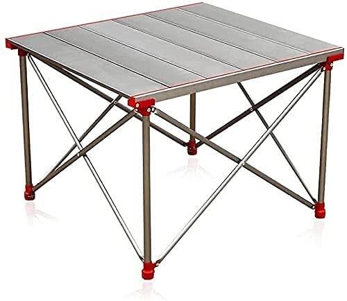 Mesa de camping plegable al aire libre, aluminio portátil, liviano enrolle hacia arriba mesa de elevación superior con bolsa de transporte, fácil de llevar, para campamento picnic barbacoa cocina fest