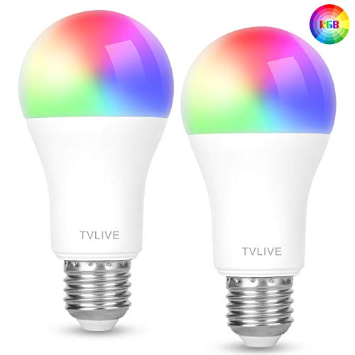 Bombilla LED Inteligente WiFi, TVLIVE 2 Pack Bombilla LED Luces Cálidas/Frías & RGB, Lámpara WiFi Funciona con Alexa (Echo, Echo Dot) Google Home IFTTT, 16 Millones de Colores, E27 7.5W, 800 Lúmenes