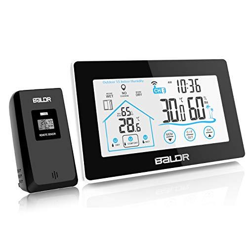 BALDR Wetterstation Funk mit Außensensor, Thermometer-Hygrometer innen/ausen Raumthermometer Außentemperatur Feuchtigkeit mit Hintergrundbeleuchtung, Lüftungsempfehlung und Uhrzeit Anzeige, Schwarz