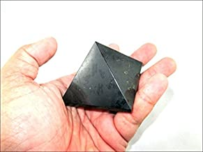 Jet Black Tourmaline Pyramid Stone India Handcrafted 1.25 - 1.5 inch approx. A++ Crystal Pouch Stress Relief 40 Page Jet International Crystal Therapy Booklet Gemstone