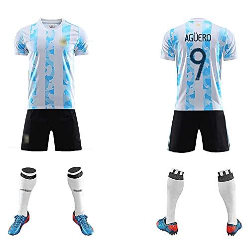 DSechcrsL Camiseta De Fútbol para Hombre, Selección Nacional De Argentina 2021 Adultos Juego para Niños Uniformes De Fútbol Camiseta De Fútbol No.9 Camiseta De Agüero,Azul,M/Medium