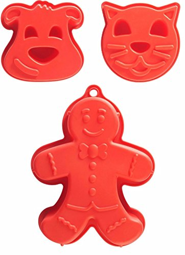 Mason Cash Lot de 3 grands moules à gâteau en silicone Rouge