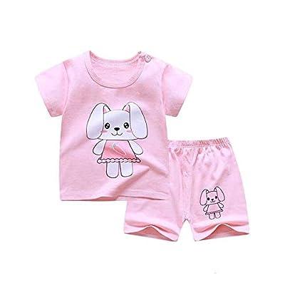 Fansu Pijamas Enteros de Manga Corta para Niños, Pijamas Dos Piezas Bebé Niña Verano Algodón Juego de Pijama Camisetas Pantalones Estampado Animal Carta (Conejo doblada Rosa,90cm(18-24 Meses))