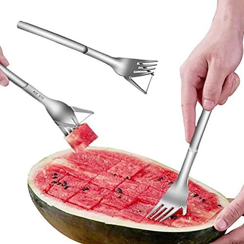 Cortador de garfo de melancia, cortador de garfo de melancia, multiuso, 2 em 1, cortador de garfo de melancia criativo, garfo de corte de frutas, garfo, utensílios de cozinha legais