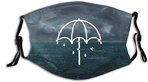 Face Mask Modern Style Background Map, Dark Sky, Sea, Hand Drawn Cartoon Umbrella Balaclava Unisex Reusable Windproof Mouth Bandanas Outdoor Neck Gaiter Made in USA
