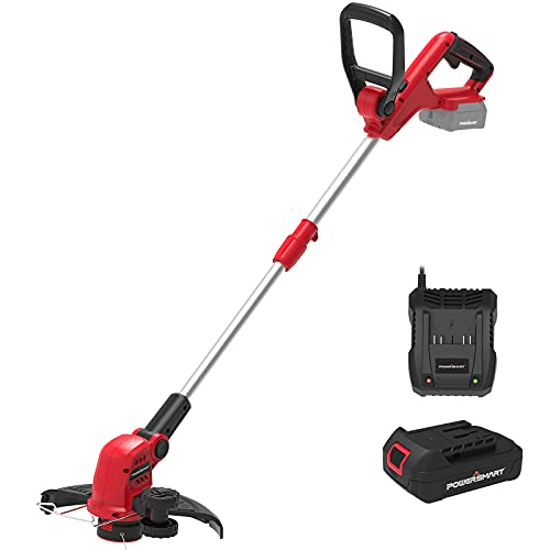 PowerSmart String Trimmer, 20V Li-Ion Cordless String Trimmer, Cordless Trimmer with 12-INCH Cutting Diameter, 2-in-1 Cordless Edger Trimmer, 7.5 pounds, Height Adjustable, PS76112A