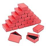 BENECREAT 24 Pack Cajas de Joyería de Cartón Roja con Patrón de Diamantes 8x5x3cm para Anillo, Pendiente, Collar, Cajas de Regalo con Esponja para Aniversarios, Bodas, Cumpleaños