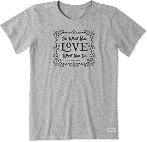 Life is Good Womens Crusher Positive Graphic T-Shirt, Floral Heather Gray, Medium