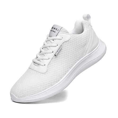 BaiMoJia Zapatillas Deportivas Hombre Zapatos Running Bambas Deporte Ligeras Verano Casual Blanco 46 EU