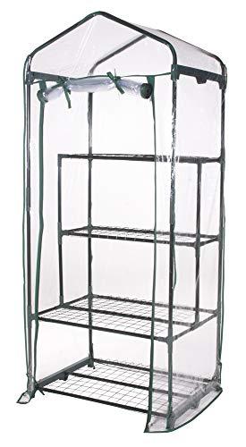 VERDELOOK Serra a 2+2 Ripiani e Telo in PVC Trasparente, 69x49x157 cm