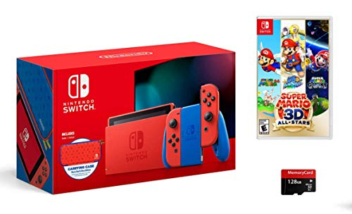 Latest Nintendo Switch Bundle: Mario Red & Blue Edition, Super Mario 3D All-Stars, and Woov Micro SD 128GB