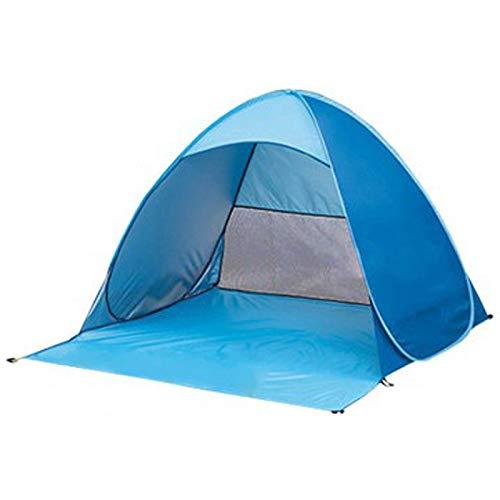 PQZATX Tente de Plage Ultra LéGèRe Tente Pliante -Up Automatique Tente Ouverte Famil Le Voyage Poisson Camping Anti-UV Complet Pare-Soleil Bleu