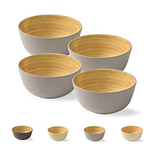 BIOZOYG 4 Piezas Cuenco de bambú de Primera Calidad Gris a 450 ml I vajillade bambú Cuenco de Cereales Cuenco de Fruta Cuenco de Madera Cuenco de la Ensalada Cuenco de la decoración