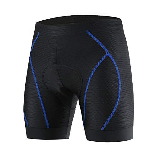 Suukaa, pantaloncini da ciclismo da uomo in gel imbottito 5D, pantaloncini da mountain bike, con design traspirante e adsorbente - blu - Medium