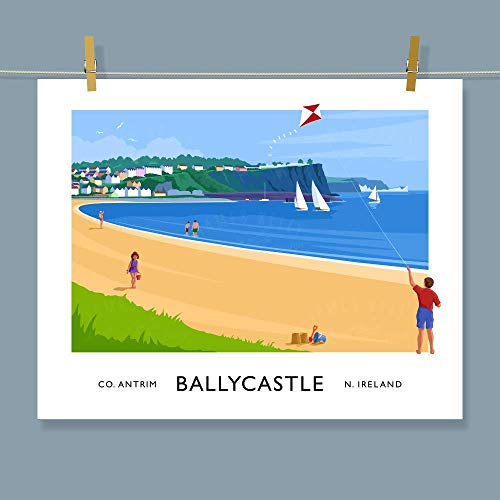 Ballycastle Beach, Antrim - vintage style travel poster art print of Ireland