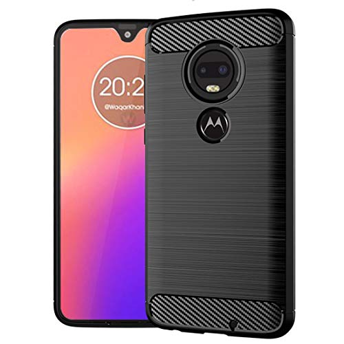 Moto G7 Case,Motorola G7 Plus Case,Slim Thin Soft Skin Flexible TPU Lightweight Gel Rubber Anti-Scratch Shockproof Carbon Fiber Protective Cases Cover for Moto G7,Brushed Black