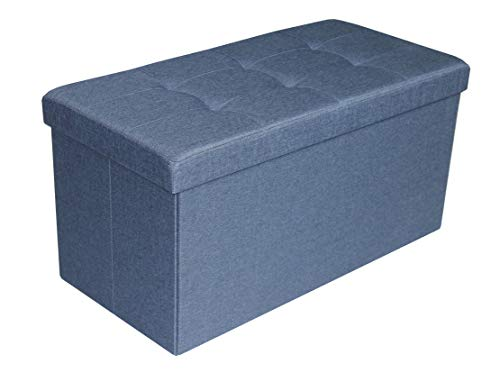D&D Quality Puff Almacenaje Plegable, Asiento Acolchado, 76 x 38 x 38 cm - Carga Máxima de 300 kg (Azul Marino)