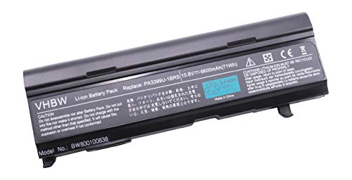 vhbw Batterie Haute Performance 6600mAh 10.8V pour Toshiba remplaçant PA3399U-1BAS, PA3399U-1BRS, PA3399U-2BAS, PA3399U-2BRS, PA3400U-1BRS