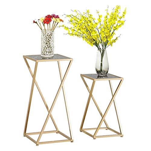 XYHX Bloemstandaard combinatie vierkante bijzettafel marmeren hoek woonkamer moderne minimalistische licht bloem pot rek