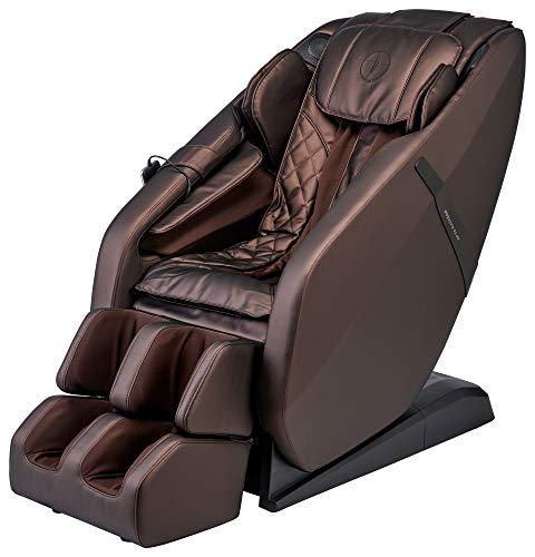 FR-6KSL Massage Chair, Full Body Shiatsu L-Track Rolling System with Built in Heat, Foot Rolling, Space Saving, Zero Gravity Massage Recliner, Bluetooth Speakers, 3 Language Smart Remote (Dark Brown)