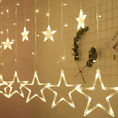 Luz Cortina, Guirnalda de Luces, 2.5m 12 estrellas 108 LED,Cortina de Luces LED, Alimentado por batería (no incluido), Luz Perfecto para Decoración de Navidad, Festival,Fiestas, Casa,Jardín,Boda