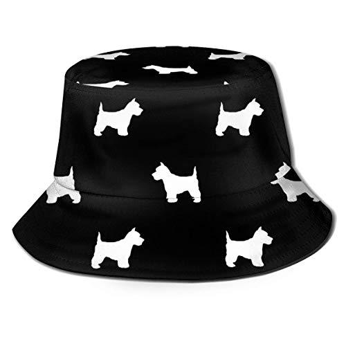 SDFRG Eimer Hut Westie West Highland Terrier Hund Silhouette Schwarz Unisex Packbar UV-Schutz Outdoor Sommer Angelkappe Sonnenhut